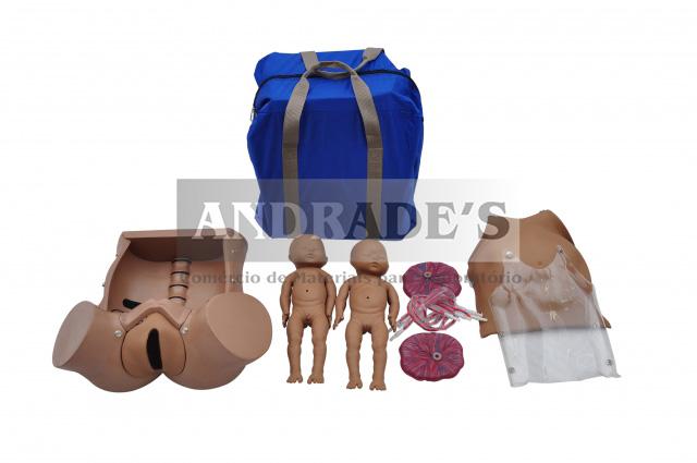 Simulador de parto gemelar c/ placenta e cordão umbilical - SD-4010
