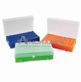 RACK DUPLA FACE PARA MICROTUBOS DE PCR 0,2 A 1,5 ML - CORES SORTIDAS
